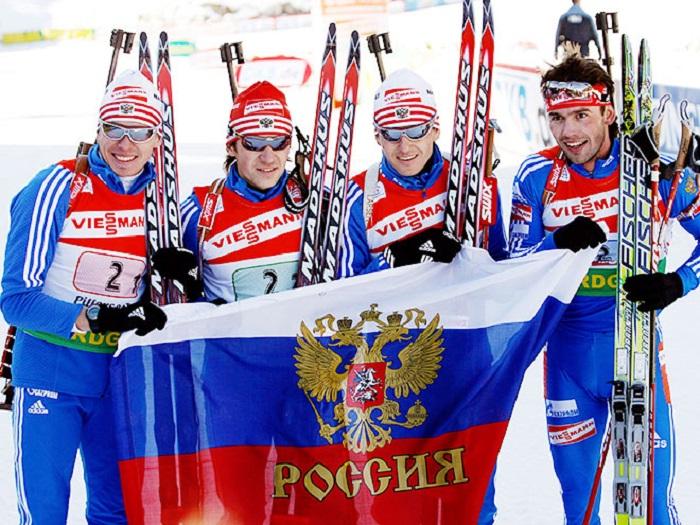 Картинки по запросу российские биатлонисты взяли золото в эстафете фото